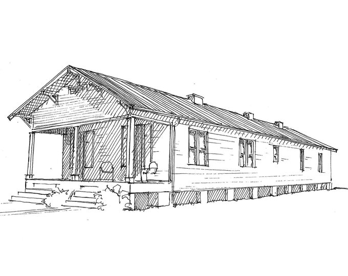 DOUBLE WIDE SHOTGUN House - New Orleans, Louisiana, Tiny House, Architecture, Southern, Pen and Ink, Drawing, Sketchbook, Art, Drawn There