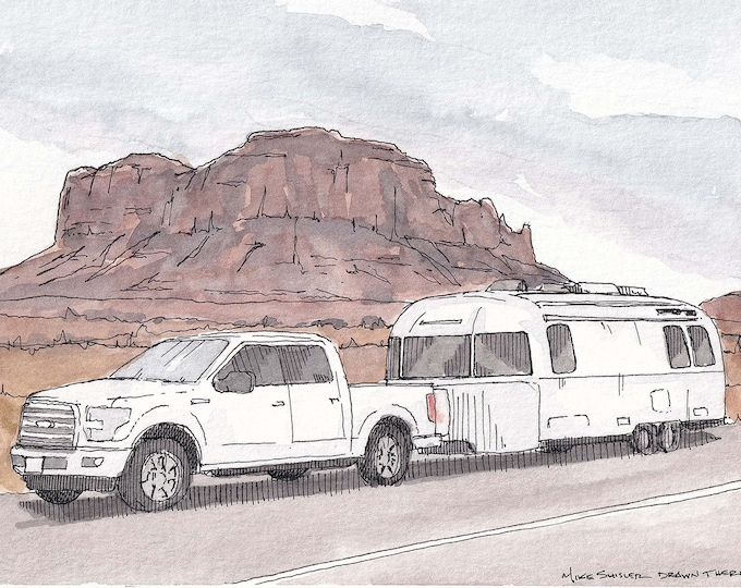 MONUMENT VALLEY AIRSTREAM - Trailer, Camping, Camper, Roadtrip, Utah, Desert, Drawing, Watercolor, Painting, Sketchbook, Art, Drawn There