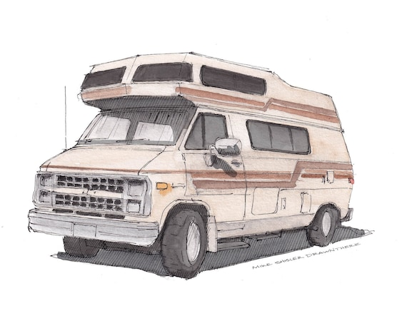 CHEVY CAMPER VAN - High Roof, Beige, Vintage, Vanlife, Camping, Roadtrip, Ink and Watercolor, Painting, Drawing, Art Print, Drawn There