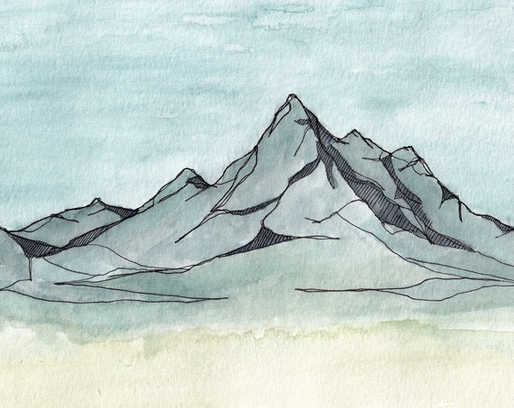 BLUE MOUNTAINS - National Park, Wyoming, Grand Teton, Landscape, Art, Ink and Watercolor, Drawing, Painting, Sketchbook, Drawn There