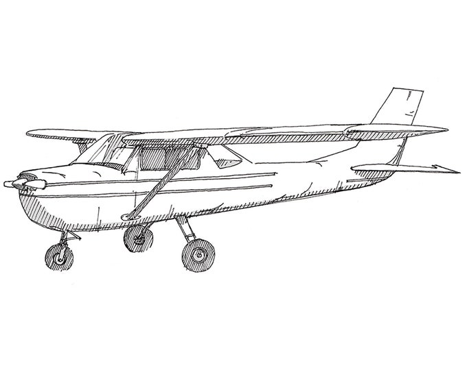 CESSNA AIRPLANE - Plane, Fly, Travel, Flight, Ink Drawing, Line Drawing, Art, Print, Drawn There