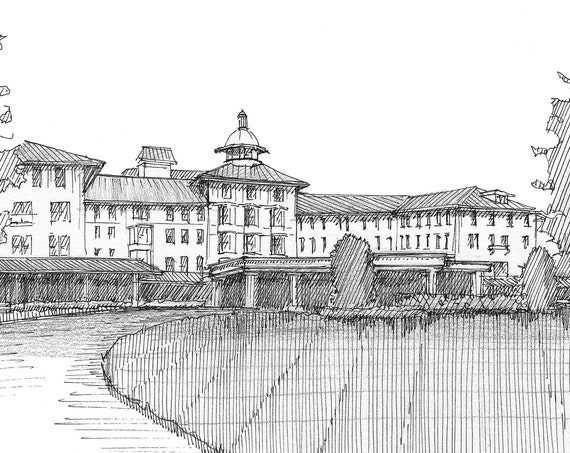 PINEHURST CAROLINA HOTEL - Golf Resort, North Carolina, Sand Hills, Architecture, Pen & Ink, Plein Air Line Drawing, Art, Drawn There