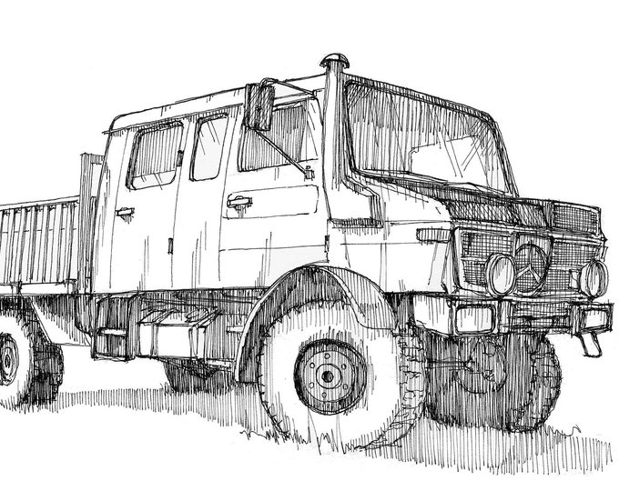 MERCEDES UNIMOG OVERLAND - Vehicle, Truck, Off Road, 4x4, Military, Vanlife, Drawing, Pen and Ink, Watercolor, Painting, Art, Drawn There