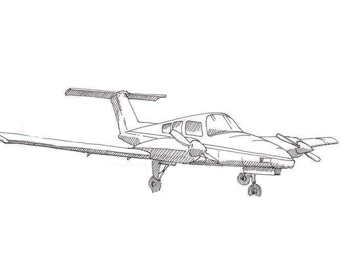 BEECHCRAFT DUCHESS AIRPLANE - Twin Engine, Plane, Fly, Travel, Flight, Ink Drawing, Line Drawing, Art, Print, Drawn There