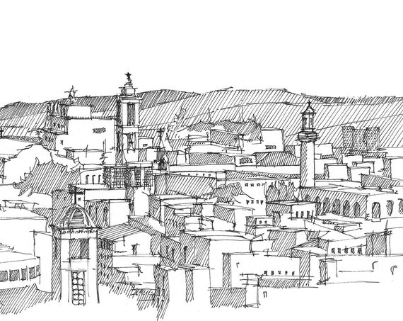 JERUSALEM SKYLINE - Holy City, Pen and Ink, Drawing, Sketchbook, Art, Architecture, Drawn There