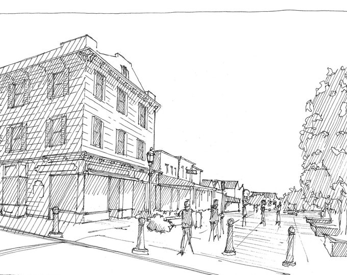 CAPE MAY NJ - Washington Street Pedestrian Mall, Victorian Architecture, Historic Town, Urbansketchers, Ink Drawing, Art, Drawn There