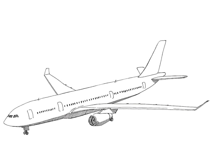 AIRBUS A330 AIRPLANE - Jet, Commercial Airliner, Fly, Travel, Flight, Ink Drawing, Line Drawing, Art, Print, Black and White, Drawn There
