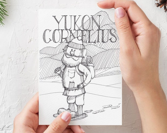 YUKON CORNELIUS Holiday Cards - (Qty 3) 5x7 folded greeting cards, blank inside, Drawing, Pen & Ink, Sketch, Christmas, Rudolph, Drawn There