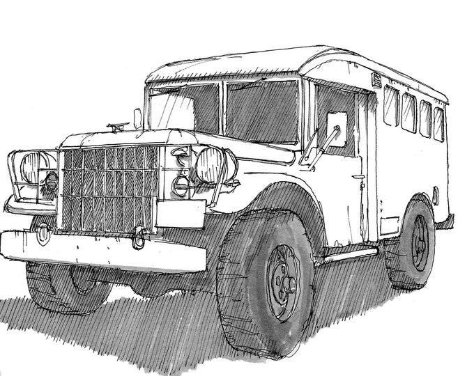 1954 DODGE M154 MILITARY VEHICLE - Vintage, Truck, Off-road, Jackdaw, Drawing, Ink, Vehicle, Sketchbook, Art, Drawn There, Vanlife, Nomad