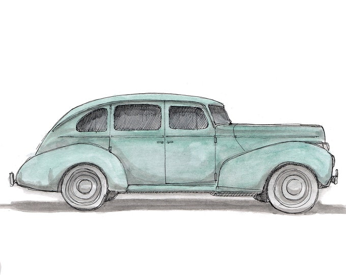 1940 HUDSON Classic Car - Ink and Watercolor, Drawing, Painting, Sketchbook, Art Print, Vintage, Drawn There