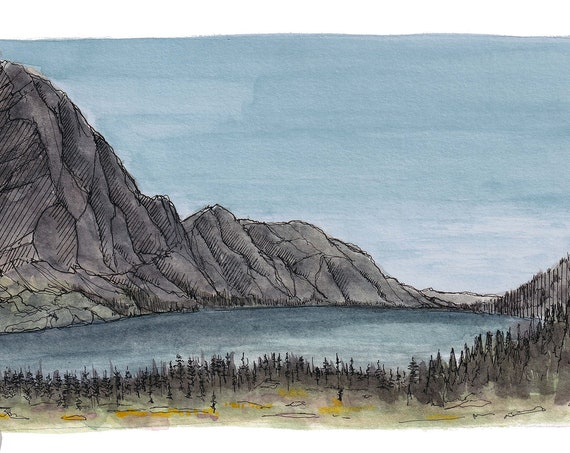 GLACIER NATIONAL PARK - Lake Ellen Wilson, Mountain, Hiking, Ink and Watercolor Landscape Plein Air Painting, Drawing, Art, Drawn There