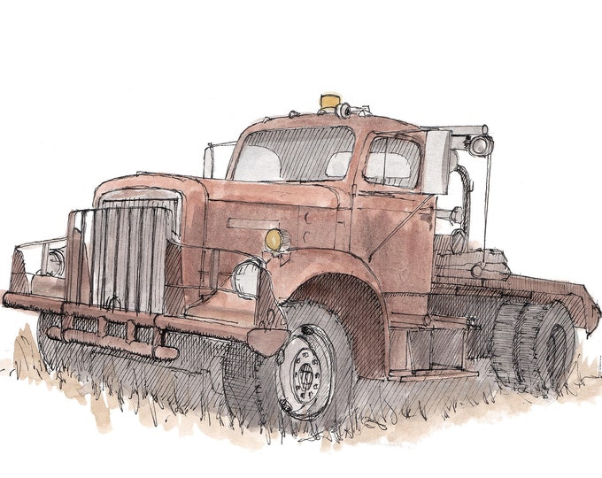 TOW TRUCK ANTIQUE - Abandoned, Rusty, Vehicle, Texas, Drawing, Pen and Ink, Watercolor, Painting, Art, Sketchbook, Drawn There