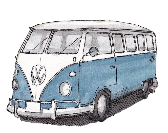 BLUE VW BUS - Kombi, Volkswagen, Van, Vanlife, Classic, Van, Plein Air Watercolor Painting, Drawing, Art Print, Drawn There