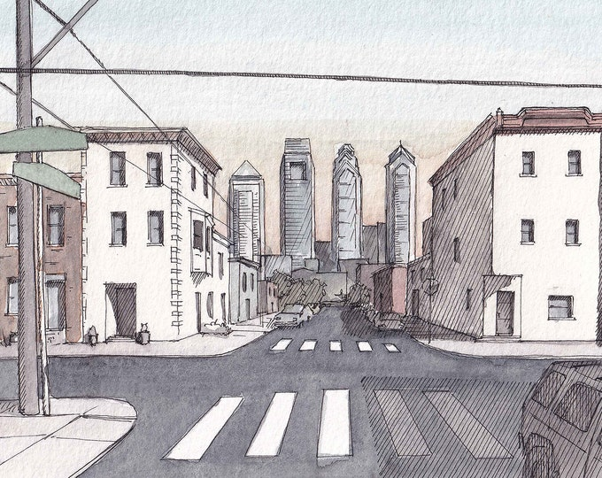 PHILADELPHIA URBAN SKYLINE - Sunset, Philly, Pennsylvania, Urbansketchers, Drawing, Ink and Watercolor Painting, Art, Drawn There
