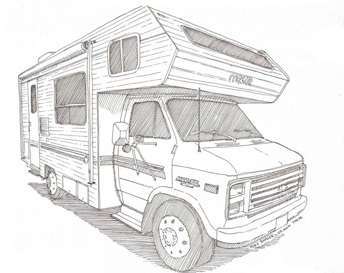 CLASSIC CAMPER RV - Chevy, Recreational Vehicle, Camping, Road Trip, Vanlife, Drawing, Pen and Ink, Art Print, Sketchbook, Drawn There