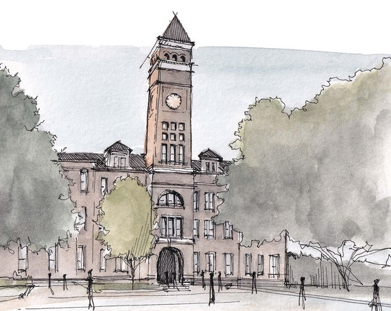 CLEMSON UNIVERSITY Tillman Hall Bell Tower - Architecture, Georgia, Drawing, Watercolor Painting, Sketchbook, Art, Print, Drawn There