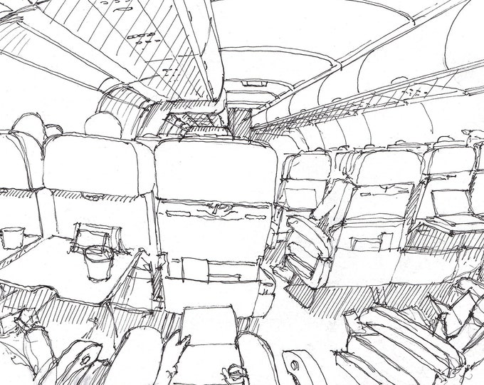 AIRPLANE CABIN - Travel, Commercial Airline, Aisle Seat, Flying, Drawing, Pen and Ink, Sketchbook, Art, Drawn There