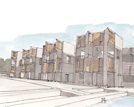SALK INSTITUTE - La Jolla, San Diego, California, Science Research, Louis Kahn, Architecture, Drawing, Watercolor, Painting, Drawn There