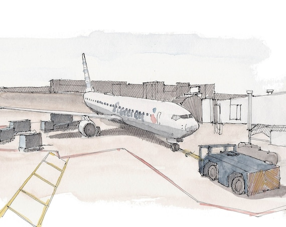 COMMERCIAL AIRLINER PUSHBACK - Jet, Airplane, Airport, Tarmac, Travel, Flight, Drawing, Pen and Ink, Watercolor, Painting, Art, Drawn There