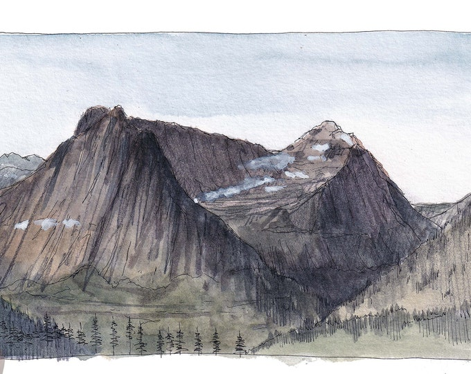GLACIER NATIONAL PARK - Highline Trail Glacier View, Hiking, Ink & Watercolor Landscape Plein Air Painting, Drawing, Art, Drawn There