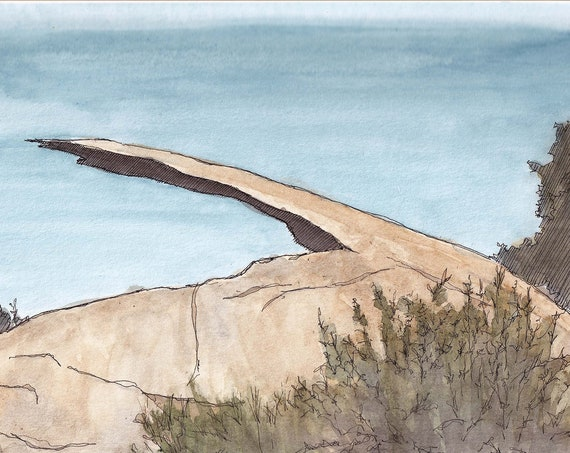 POTATO CHIP ROCK - Hiking, San Diego, Mount Woodson, Drawing, Watercolor Painting, Landscape, Plein Air, Sketchbook, Art, Print, Drawn There