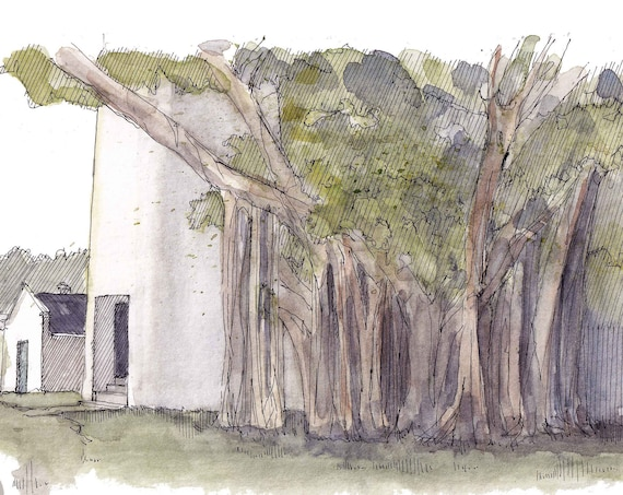 KEY WEST LIGHTHOUSE - Banyan Tree, Fig Tree, Florida, Ink and Watercolor Plein Air Painting, Sketchbook Art, Giclee Print, Drawn There