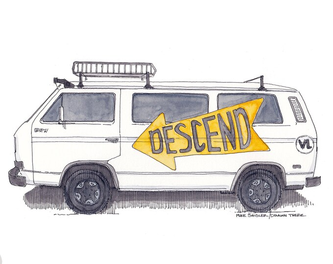 DESCEND on BEND VANAGON - Volskwagen, 4x4, Syncro, Oregon, Vanlife, Van, Drawing, Pen and Ink, Watercolor, Art, Sketchbook, Drawn There