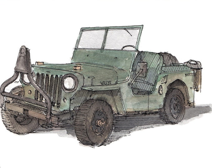 WILLYS JEEP 1949 - Classic Car, Off Road, WWII, World War Two, 4x4, Drawing, Pen and Ink, Painting, Watercolor, Sketchbook, Drawn There