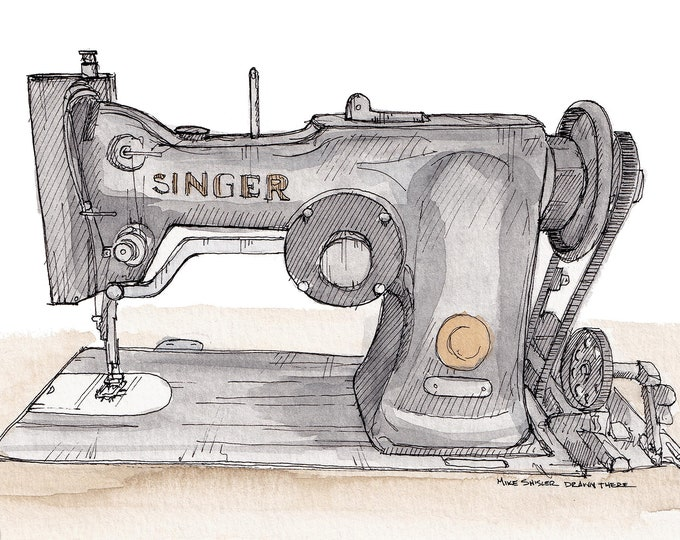VINTAGE SEWING MACHINE - Singer, Seamstress, Fashion, Sew, Drawing, Watercolor, Painting, Sketchbook, Art, Drawn There