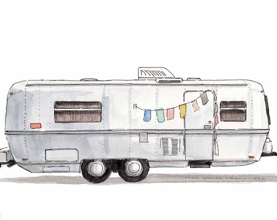 VINTAGE AIRSTREAM TRAILER - Camper, Roadtrip, Boho, Chic, rv, Watercolor Painting, Drawing, Sketchbook, Art, Drawn There