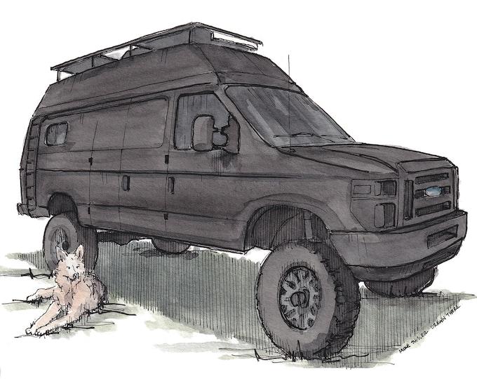 FORD ECONOLINE VANLIFE - Ford Van, Lifted, 4x4, Campervan, Dog, German Shepherd, Drawing, Watercolor, Painting, Sketchbook, Art, Drawn There