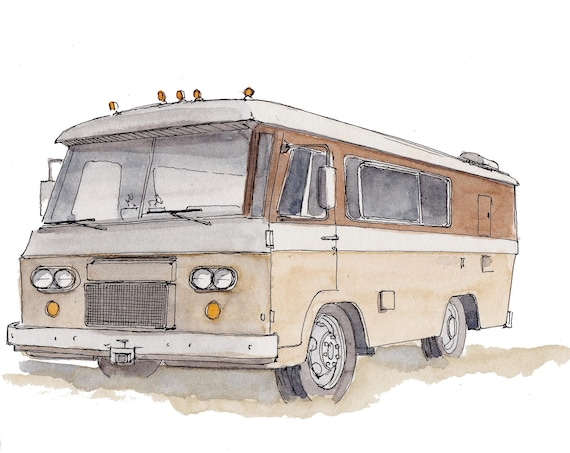 CLARK CORTEZ MOTORHOME - Vanlife, Classic, rv, Ink and Watercolor, Painting, Drawing, Art Print, Drawn There