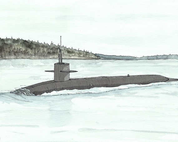 SUBMARINE - Military, USS Kentucky SSBN 737, Vessel, Navy, Ship, Military Art, Ink and Watercolor,Drawing, Painting, Sketchbook, Drawn There