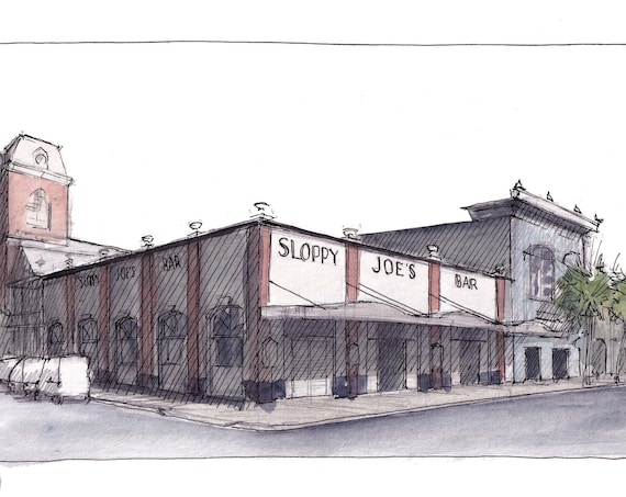 SLOPPY JOES BAR - Key West, Florida, Duval Street, Urbansketcher, Ink & Watercolor Plein Air Painting, Drawing, Sketchbook, Art, Drawn There