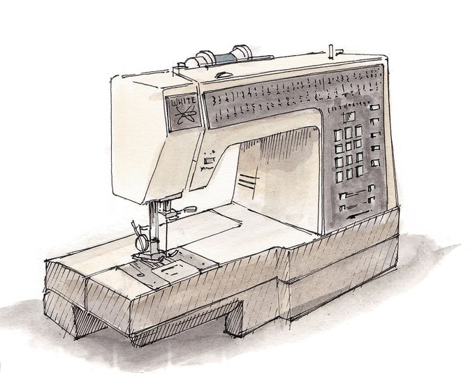 SEWING MACHINE - Ink and Watercolor, Art Print, Drawing, Pen and Ink, Watercolor, Arts and Crafts, Seamstress, Fashion, Garment, Drawn There