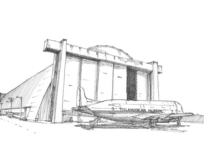 AIRPLANE HANGAR - Flight, Flying, Architecture, Runway, Drawing, Pen and Ink, Sketchbook, Art, Drawn There