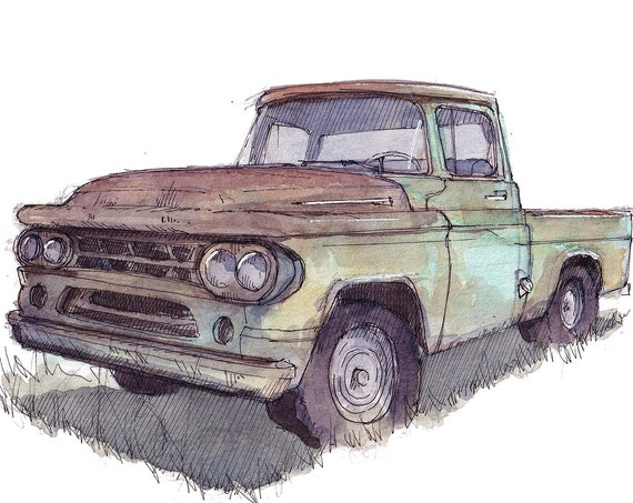 CLASSIC DODGE PICKUP - Rusty Truck, Colorful, Vintage, Ink and Watercolor Drawing, Painting, Sketchbook, Art Print, Drawn There