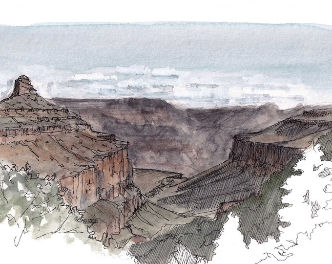 GRAND CANYON National Park - Upper Bright Angel Trail, Ink and Watercolor Plein Air Landscape Painting, Sketchbook, Art, Drawn There