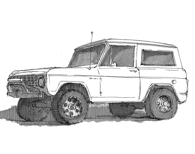 WHITE FORD BRONCO - Truck, 4x4, suv, Off-Road, oj Simpson, Drawing, Pen and Ink, Sketchbook, Art, Print, Drawn There
