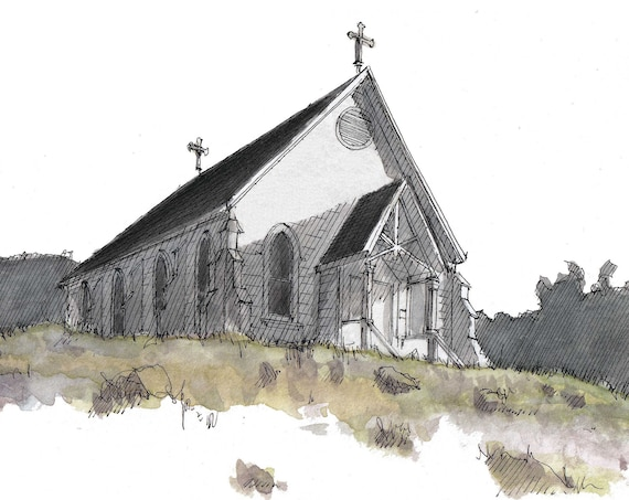 OLD ST. HILARY'S - Church, Tiburon, California, Sausalito, Historic, Architecture, Plein Air Watercolor Painting, Art, Drawn There