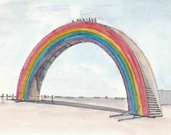 BLACK ROCK CITY - Rainbow Bridge, Interactive Art, Drawing, Painting, Ink and Watercolor, Sketchbook, Art Print, Drawn There