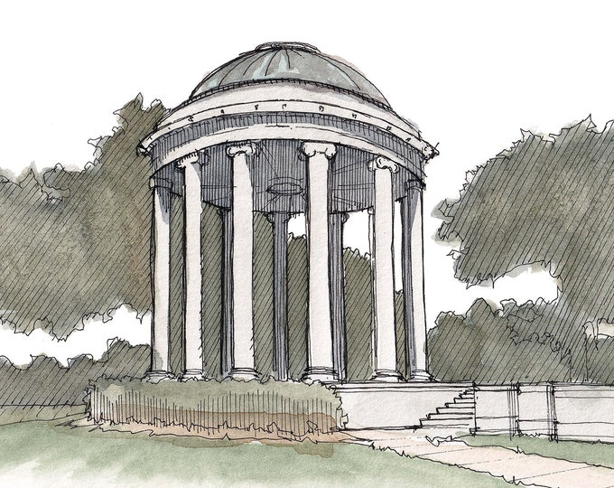 CITY PARK PAVILLION in New Orleans - Popp Banstand, Classical Architecture, Rotunda, Drawing, Watercolor Painting, Art, Drawn There
