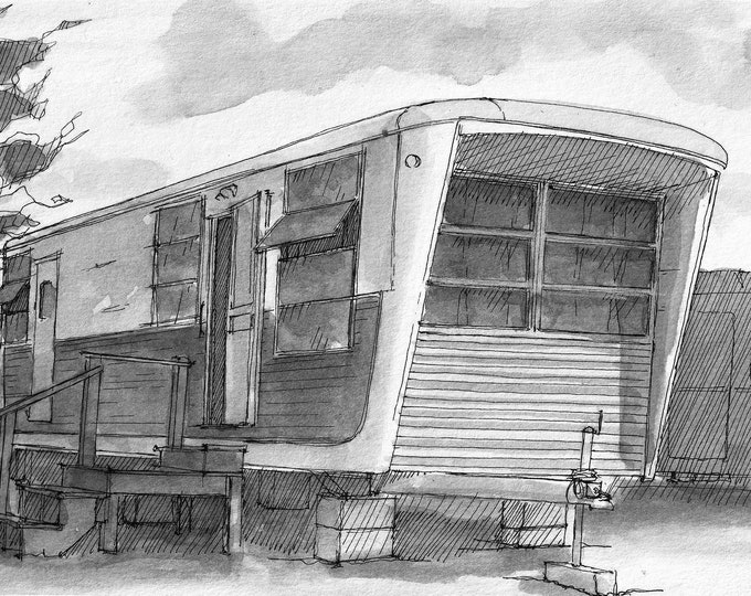 SPARTAN IMPERIAL TRAILER - Vintage, Campground, Camping, rv park, pen & ink painting, drawing, plein air art print, Custom Art, Drawn There