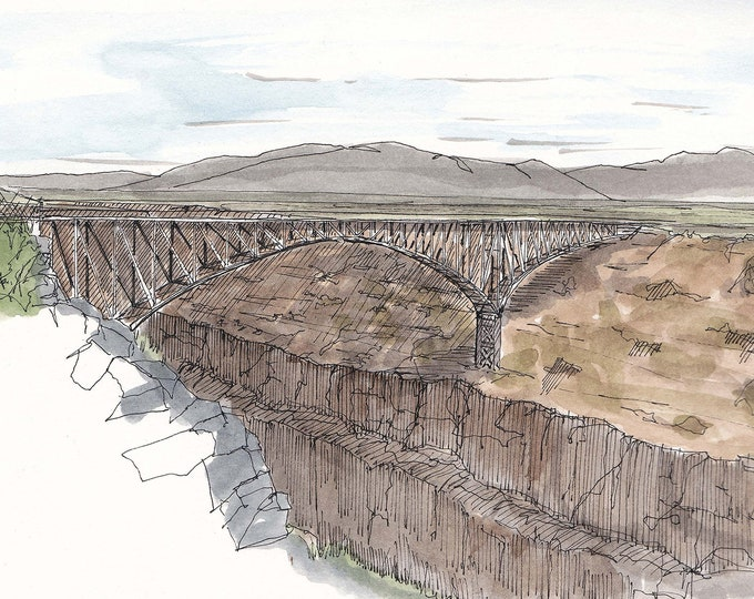 RIO GRANDE BRIDGE near Taos, New Mexico - Gorge, River, Canyon, Ink and Watercolor, Drawing, Painting, Art, Engineering, Drawn There