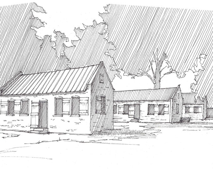 BOONE HALL PLANTATION - Slave Cabins, History, Slavery, Drawing, Pen and Ink, Line Drawing, Art, Sketchbook, Drawn There