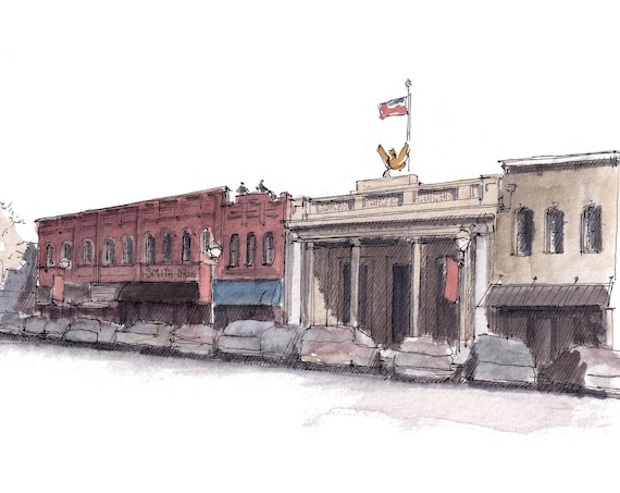 MCKINNEY TEXAS DOWNTOWN - Main Street, Architecture, Historic District, Urbansketchers, Ink and Watercolor Painting, Drawing, Drawn There