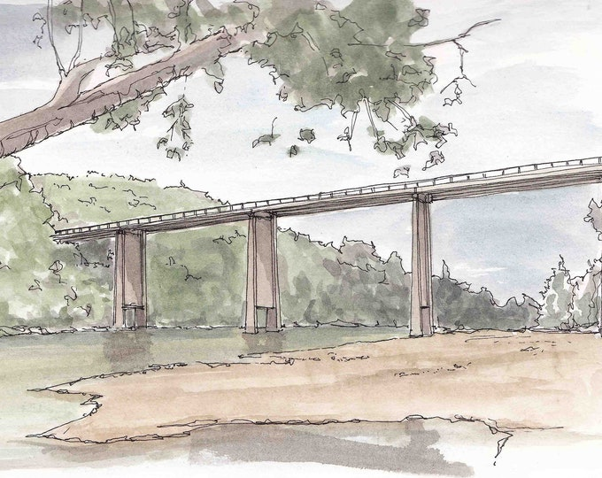 DILLARDS FERRY on the Buffalo National River - Arkansas, Pen and Ink, Drawing, Watercolor, Painting, Sketchbook, Art, Bridge, Drawn There