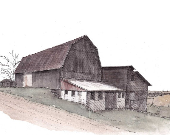 BARN on DIRT ROAD - Tioga County Pennsylvania, Rural, Farm, Ink and Watercolor Painting, Drawing, Plein Air, Art, Drawn There