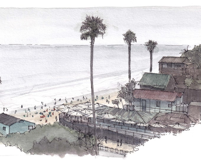 CRYSTAL COVE COTTAGES - Newport Beach, Orange County, California, Cottages, Ink, Watercolor, Plein Air Painting, Art, Print, Drawn There