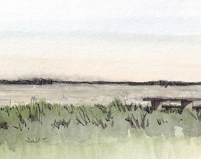 MISSISSIPPI RIVER - Plein Air Landscape Watercolor Painting, Sketchbook, Art Print, Drawn There